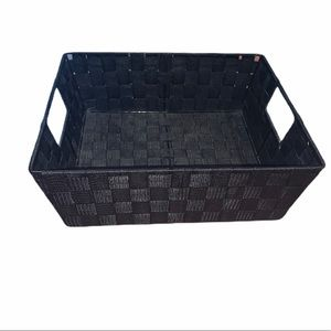 Other - Black Fabric Woven Decorative Storage Basket